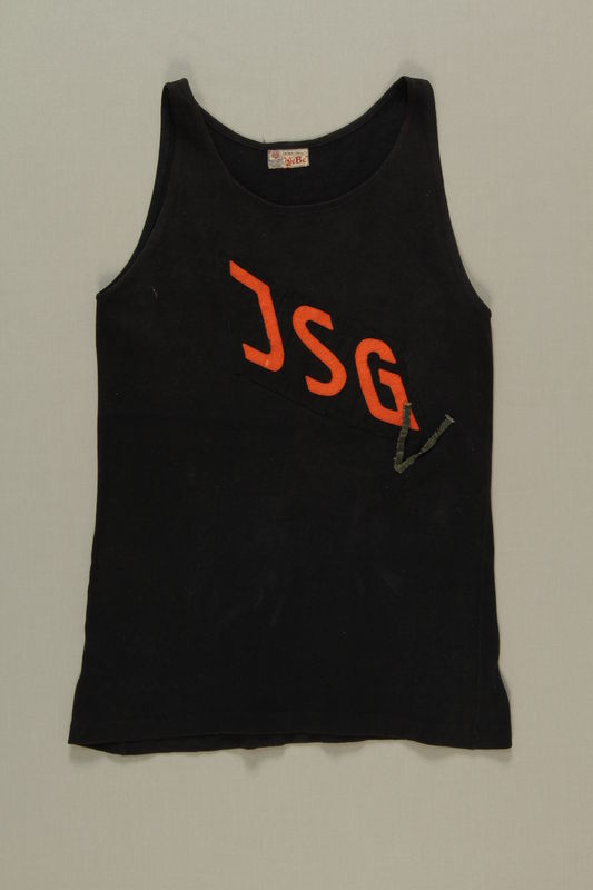 1998.121.1 front Running jersey worn by a German Jewish runner in pre-Olympic training