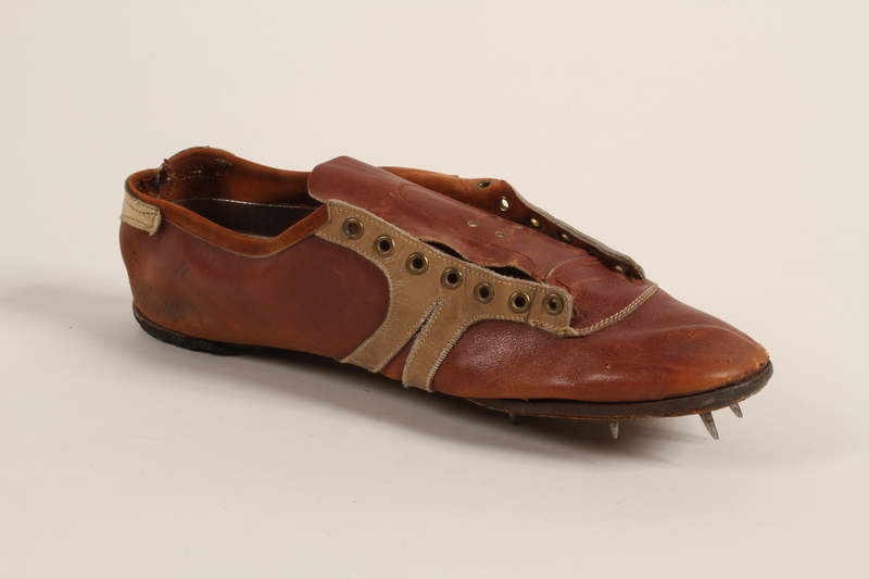 1998.121.2_b front Running shoes worn by a German Jewish runner in pre-Olympic training