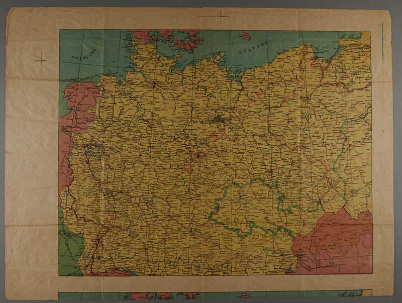 1991.226.51 front Map of Germany owned by a Dutch Jewish boy while living in hiding
