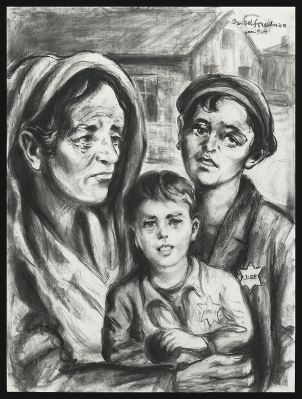 1988.173.3 front Autobiographical charcoal drawing by David Friedman of a mother with two children in Lodzer Ghetto