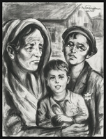 1988.173.3 front Autobiographical charcoal drawing by David Friedman of a mother with two children in Lodzer Ghetto  Click to enlarge