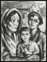 Autobiographical charcoal drawing by David Friedman of a mother with two children in Lodzer Ghetto