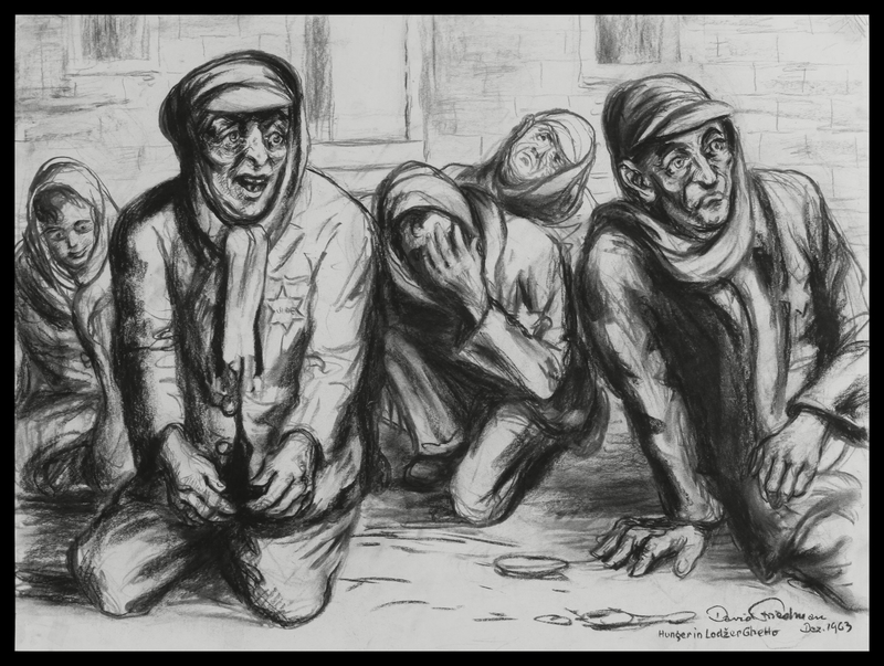 1988.182.1 front Autobiographical charcoal drawing by David Friedman of despairing and hungry Jews in the Łódź Ghetto
