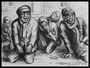 Autobiographical charcoal drawing by David Friedman of despairing and hungry Jews in the Łódź Ghetto