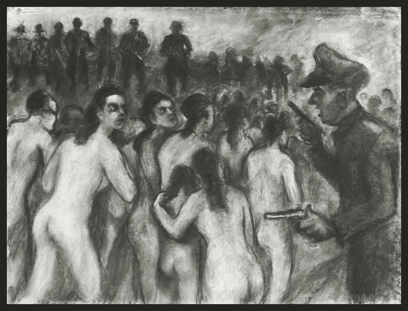 1988.182.5 front Autobiographical charcoal drawing by David Friedmann of mothers, ordered to undress, who stare at their executioners as they march with their children into a mass grave
