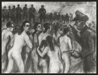 1988.182.5 front Autobiographical charcoal drawing by David Friedmann of mothers, ordered to undress, who stare at their executioners as they march with their children into a mass grave  Click to enlarge