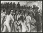 Autobiographical charcoal drawing by David Friedmann of mothers, ordered to undress, who stare at their executioners as they march with their children into a mass grave