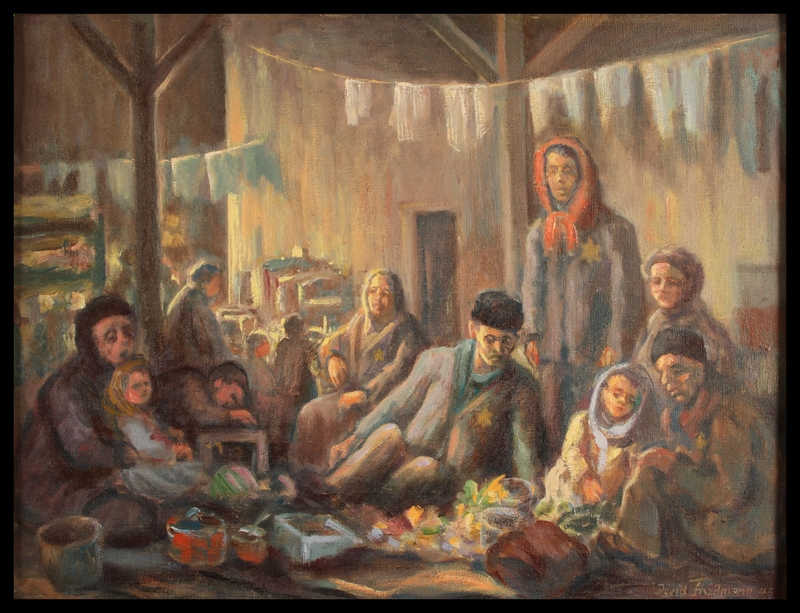 1987.114.2 front Autobiographical oil painting by David Friedmann of a large group of Jews living in an attic in the Łódź Ghetto