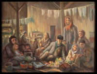 1987.114.2 front Autobiographical oil painting by David Friedmann of a large group of Jews living in an attic in the Łódź Ghetto  Click to enlarge