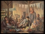 Autobiographical oil painting by David Friedmann of a large group of Jews living in an attic in the Łódź Ghetto