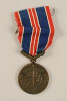 2004.643.2 front Ceskoslovenskou Medaila za Chrabrost [Medal of Valor] awarded to a Czech Jewish soldier  Click to enlarge