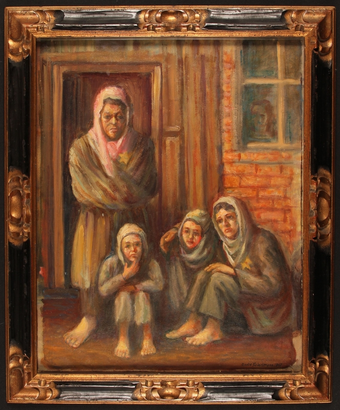 1987.114.3 front Autobiographical oil painting by David Friedmann of a woman and 3 children barefoot and hungry on a Łódź Ghetto street