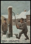 Autobiographical tempera painting by David Friedmann of two men pumping water in the Łódź Ghetto