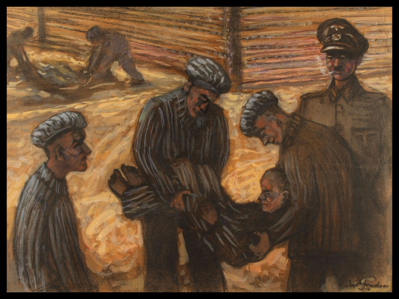 1988.173.2 front Autobiographical charcoal drawing by David Friedmann of Jewish prisoners on their way to bury a shot comrade