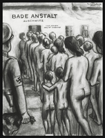 1988.182.2 front Autobiographical charcoal drawing by David Friedman of naked women and children entering the showers at Auschwitz  Click to enlarge