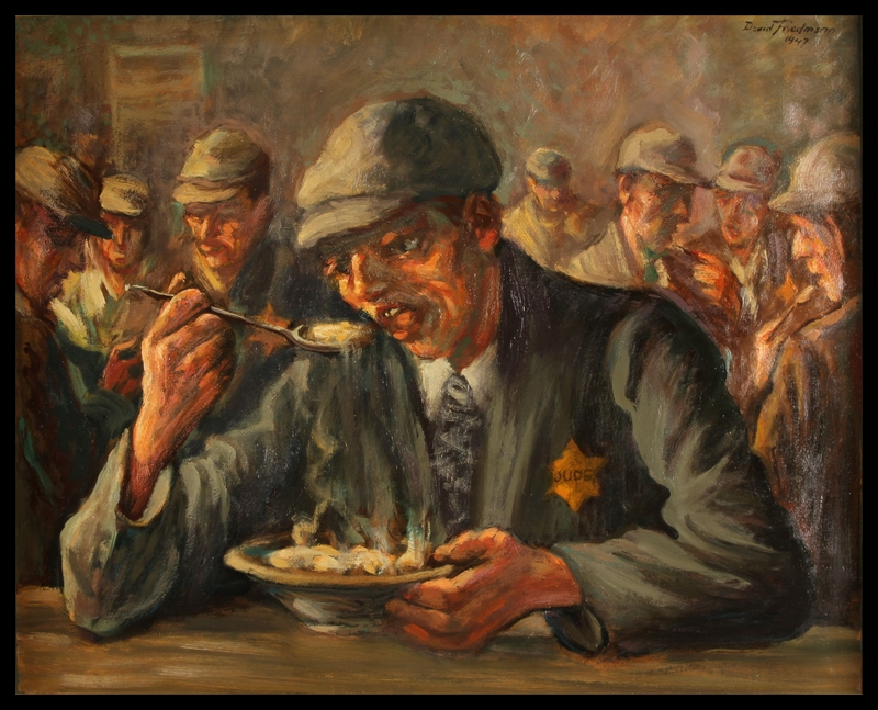 1988.182.3 front Autobiographical oil painting by David Friedmann of a man with a Star of David badge eating in a Łódź Ghetto food hall