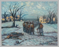 1988.182.4 front Autobiographical oil painting by David Friedmann of freed prisoners homeward bound  Click to enlarge