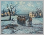 Autobiographical oil painting by David Friedmann of freed prisoners homeward bound