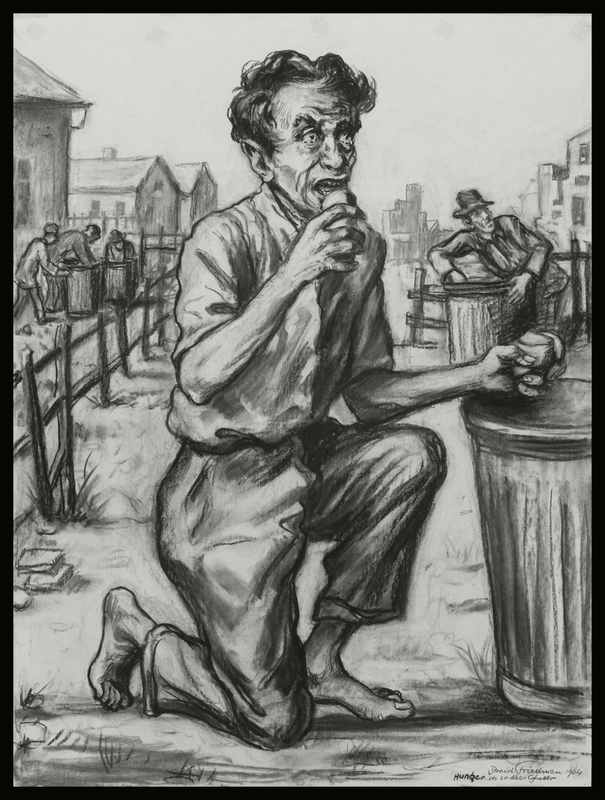 1998.79.1 front Autobiographical charcoal drawing by David Friedman of a starving man eating from a ghetto garbage can