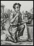 Autobiographical charcoal drawing by David Friedman of a starving man eating from a ghetto garbage can