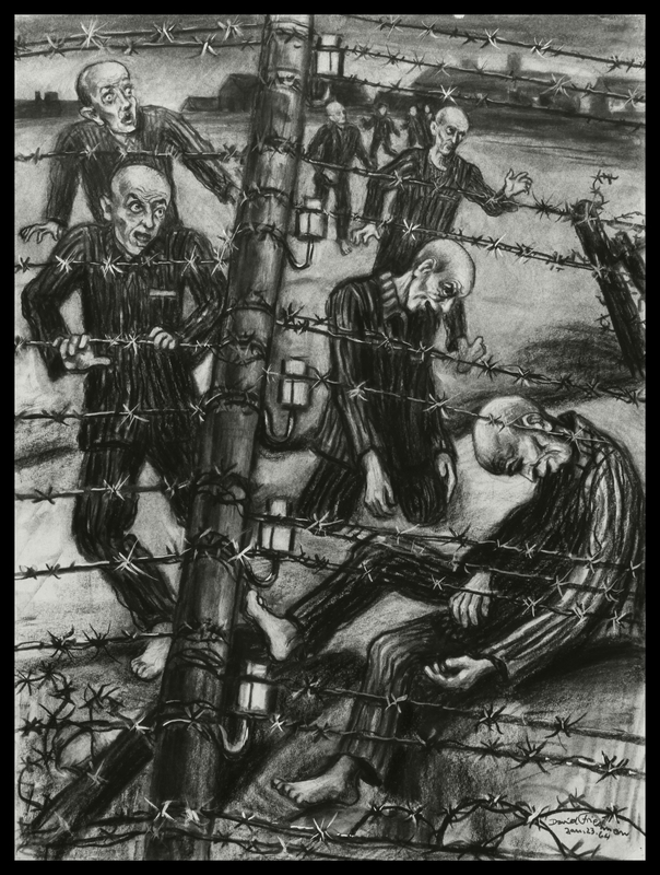 1998.80.1 front Autobiographical charcoal drawing by David Friedman of concentration camp inmates who preferred the electric wire rather than more tortures