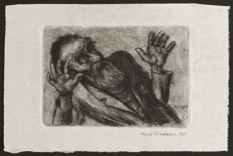 1998.80.2 front Etched print created by David Friedman of a man kneeling in despair a few seconds before execution