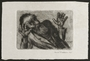 Etched print created by David Friedman of a man kneeling in despair a few seconds before execution