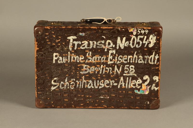 2005.89.1 top Faux alligator suitcase issued to inmates released in Bergen-Belsen prisoner exchange
