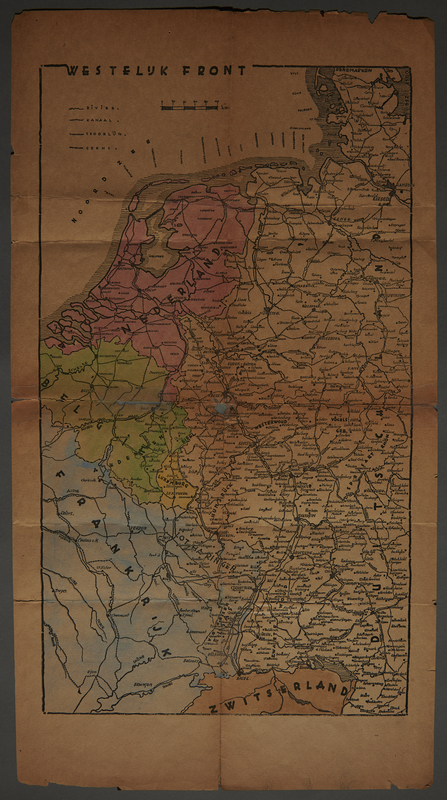 1991.226.52 front Map of the Western Front in Europe owned by a Dutch Jewish boy while living in hiding