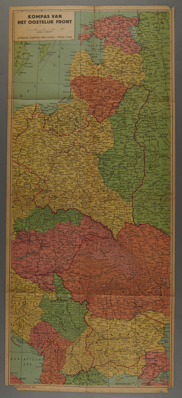1991.226.53 front Map of the Eastern front in Europe owned by a Dutch Jewish boy while living in hiding