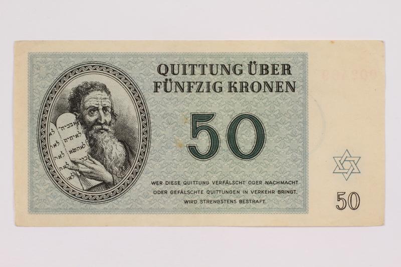 2004.684.1 front Theresienstadt ghetto-labor camp scrip, 50 kronen note