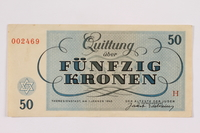2004.684.1 back Theresienstadt ghetto-labor camp scrip, 50 kronen note  Click to enlarge