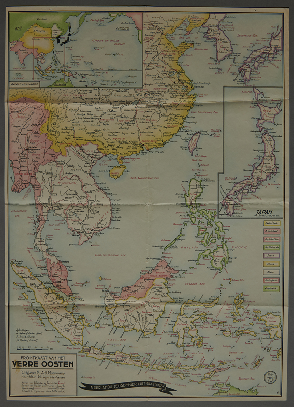 1991.226.54 front Map of the Far East owned by a Dutch Jewish boy while living in hiding