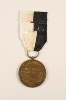 2005.25.5 back City of Ghent Commemorative Medal 1940-1945 medal with ribbon awarded to a Belgian resistance fighter  Click to enlarge