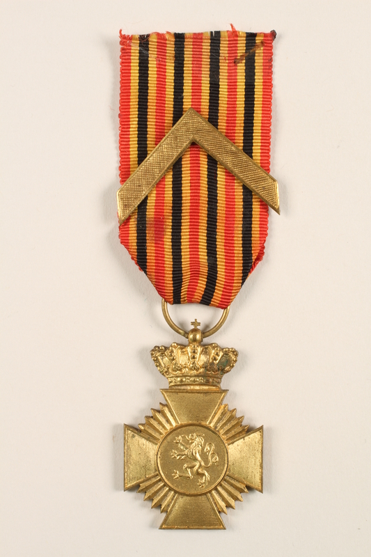 2005.25.8 front Military Decoration for Loyalty medal, ribbon, and chevron awarded to a Belgian resistance fighter