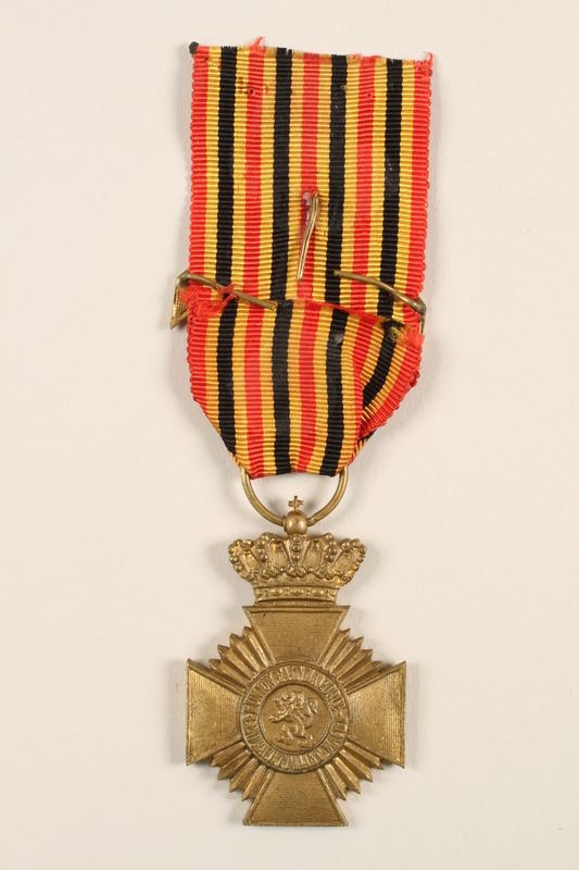 2005.25.8 back Military Decoration for Loyalty medal, ribbon, and chevron awarded to a Belgian resistance fighter