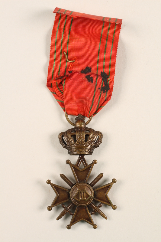 2005.25.9 back King Leopold III Croix de Guerre 1940-1945 medal, ribbon, and gold palm citation awarded to a Belgian resistance fighter