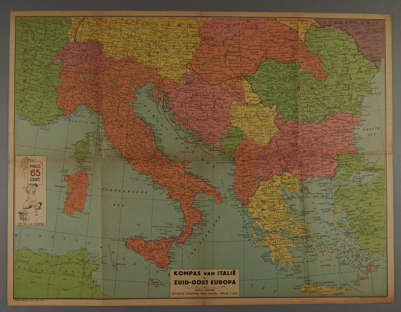 1991.226.55 front Map of Italy and Southeast Europe owned by a Dutch Jewish boy while living in hiding