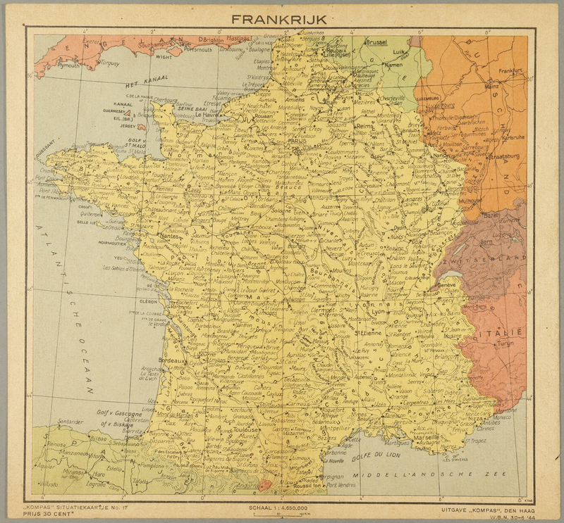 1991.226.56 front Map of France owned by a Dutch Jewish boy while living in hiding