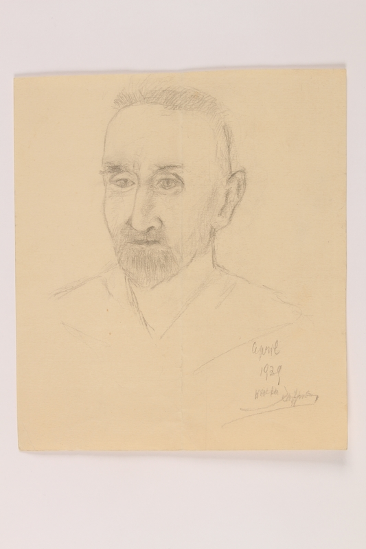 2004.704.2 front Pencil portrait of his father brought to the US by a Jewish refugee from Vienna
