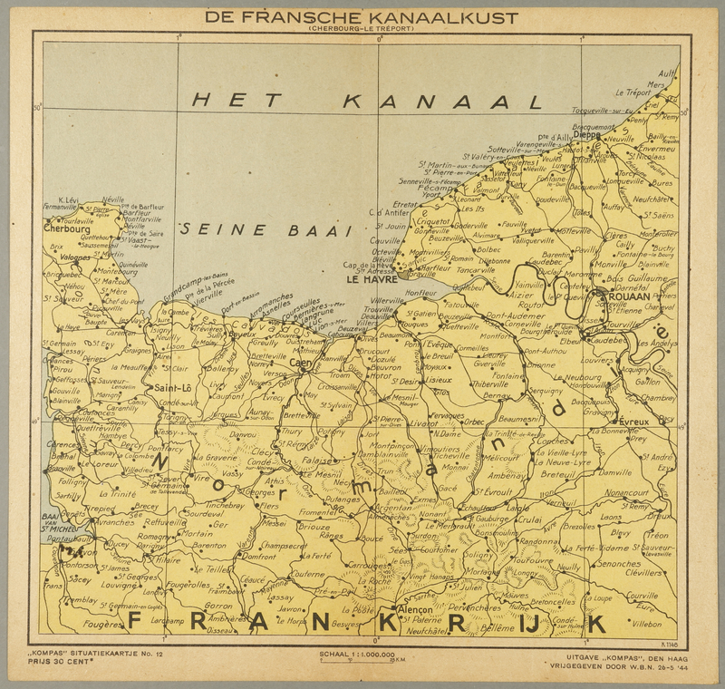 1991.226.57 front Map of the canal network in France owned by a Dutch Jewish boy while living in hiding