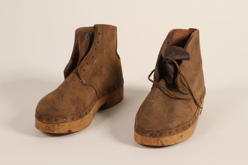 2004.705.3_a-b front Pair of handmade wooden soled suede boots from Mauthausen concentration camp