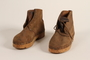 Pair of handmade wooden soled suede boots from Mauthausen concentration camp
