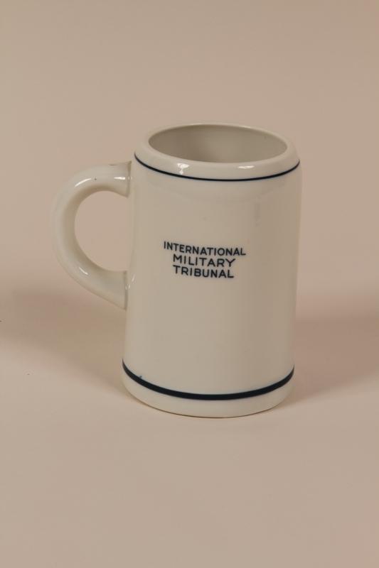 2004.705.12 back International Military Tribunal Stork Club white porcelain mug