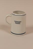 2004.705.12 back International Military Tribunal Stork Club white porcelain mug  Click to enlarge
