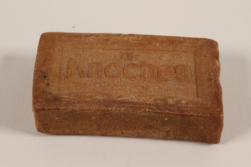 2004.705.13 front Light brown bar of curd soap produced Nazi Germany