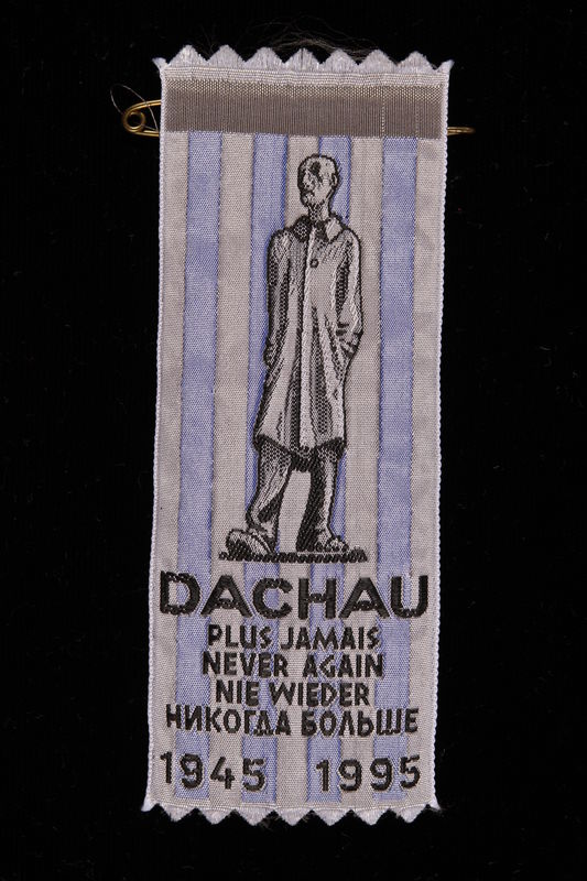 2004.705.14 front Commemorative ribbon for the 50th anniversary of Dachau concentration camp