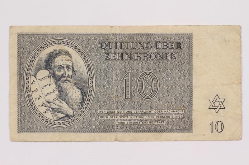 2004.705.15 front Theresienstadt ghetto-labor camp scrip, 10 kronen note
