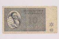 2004.705.15 front Theresienstadt ghetto-labor camp scrip, 10 kronen note  Click to enlarge