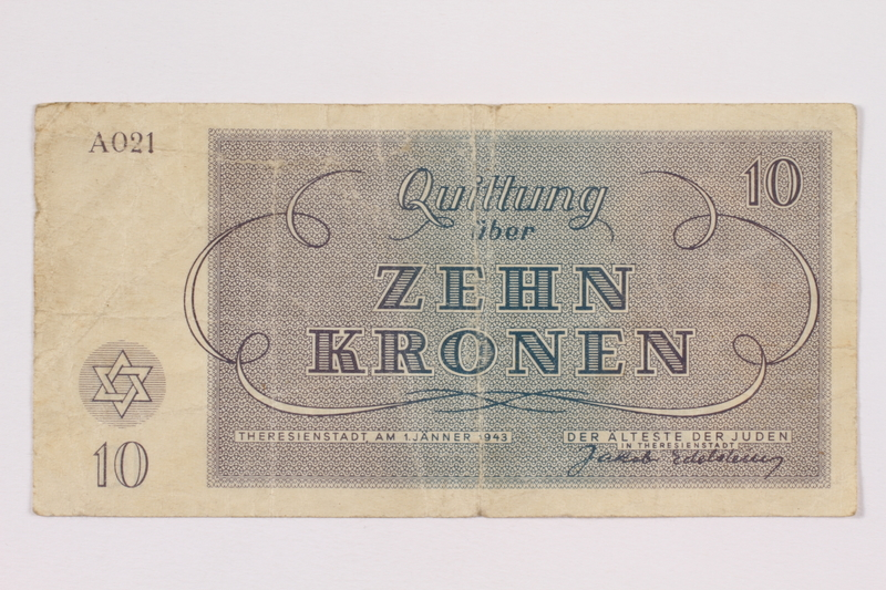 2004.705.15 back Theresienstadt ghetto-labor camp scrip, 10 kronen note